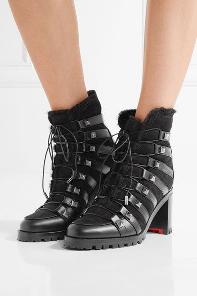 Heel measures approximately 70mm/ 3 inches Black leather and shearling  Lace-up front Made in ItalySmall to size. See Size & Fit notes.