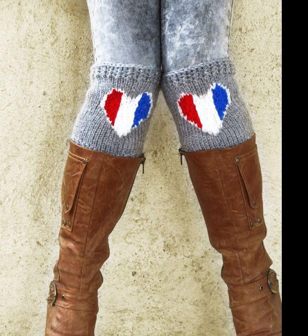 France poignets coeur de drapeau de démarrage, tricoté Boot Chaussettes Coeur, les couleurs américaines accessoires, vêtements de patriotisme, : Chaussettes, guêtres par emofostyle