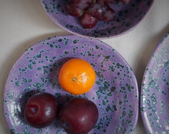 Handmade organic ceramic side plate speckled purple by GXDesigns