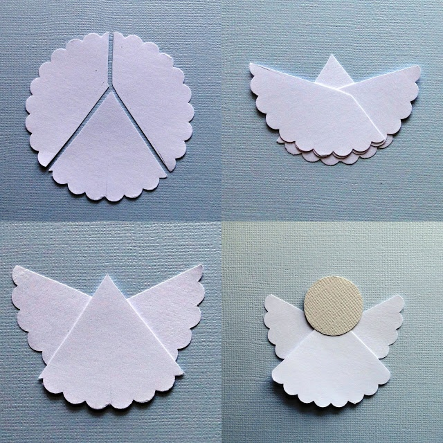 Cut a circle into three parts, one for the body and two wings. Overlap wings behind, attach a smaller circle for the face.