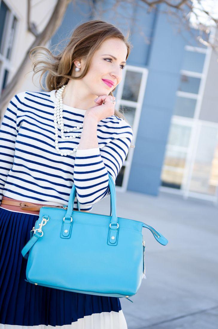 Land's End :: Teal Regatta Leather Satchel & Pleated Colorblock skirt - Glamour-Zine