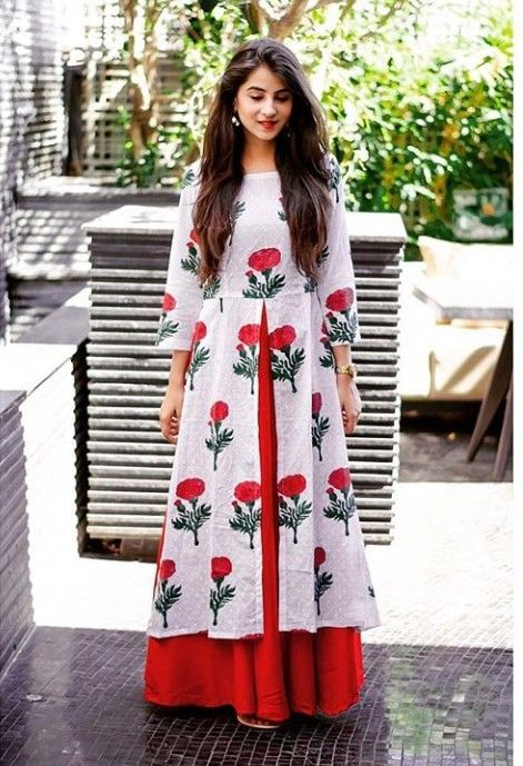 2571a26ee21955 Beautiful mulmul-cotton block printed kurti with Red skirt ...