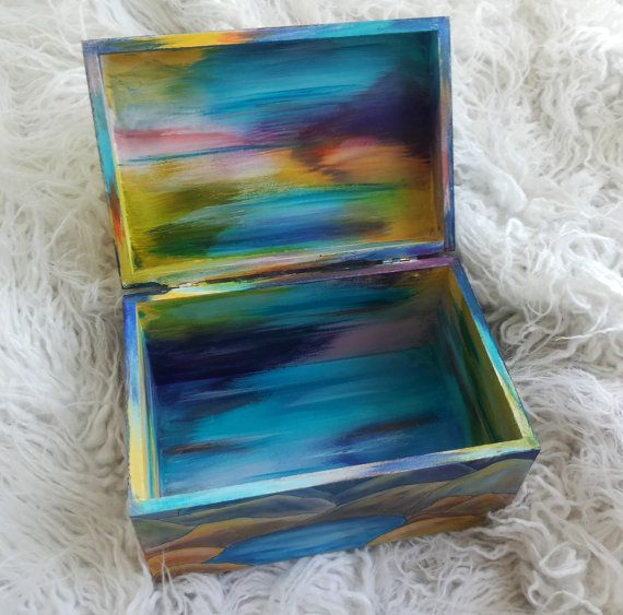 Sun Moon Hand Painted Wooden Box Jewelry box by SweetenYourHome
