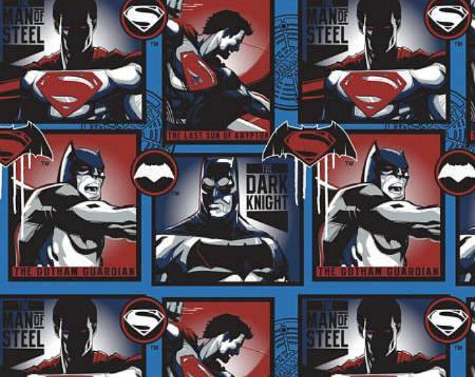 Dawn of Justice, Blue Man of Steel and Dark Knight cotton fabric, by Camelot Fabrics