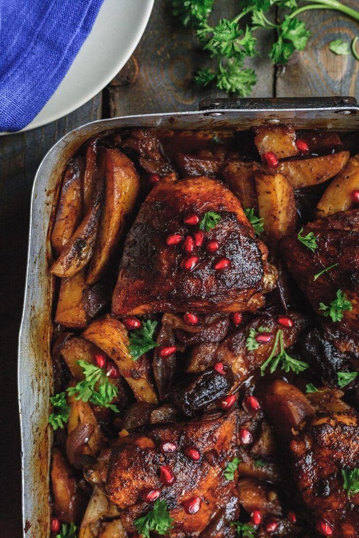 One Pan Pomegranate Molasses Chicken And Potatoes Olive Mango Pomegranate Chicken Recipes Pomegranate Recipes Molasses Recipes
