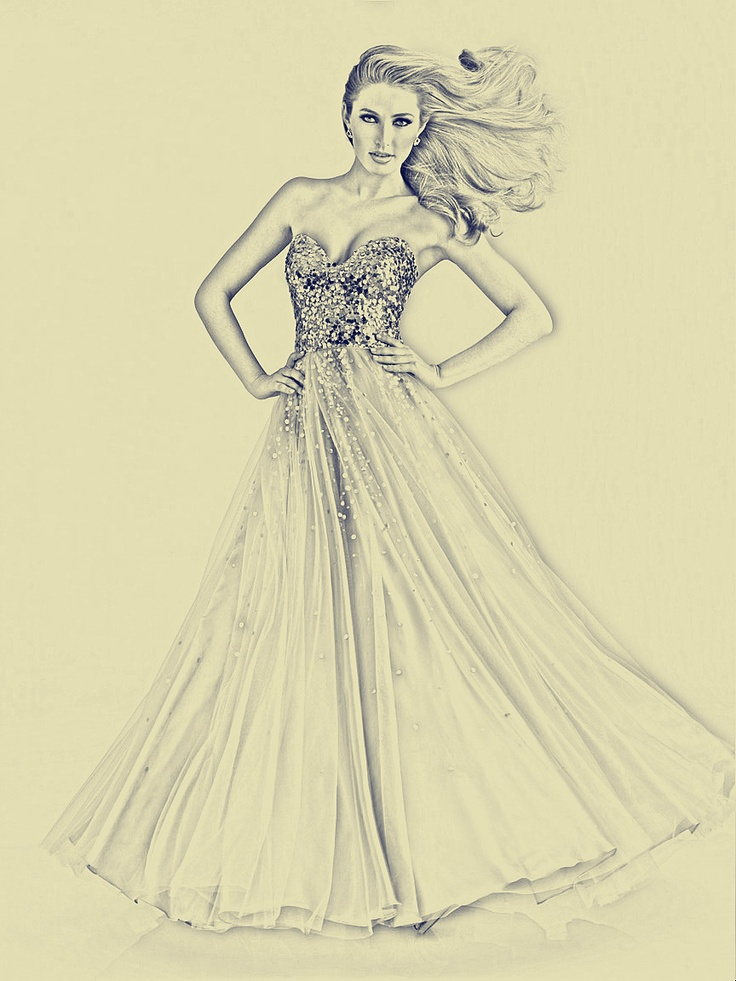 beautiful sketch of prom dress
