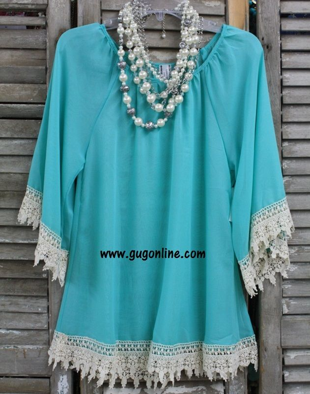 Southern Grace Sheer Top in Mint-NOW IN PLUS SIZE $38.95 www.gugonline.com