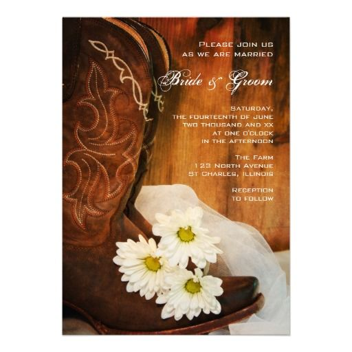 Daisies and Boots Country Wedding Invitation Bahahaha my mother would kill me!