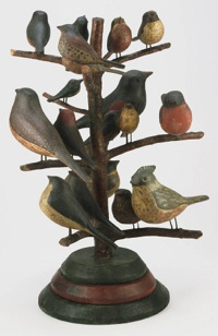 Bird Tree.  Made in Pennsylvania, United States, North and Central America.  1800-1820.  Artist/maker unknown, American, Pennsylvania German