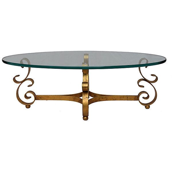 Pre-Owned Gilt Wrought Iron & Glass Coffee Table (2,010 CAD) ❤ liked on Polyvore featuring home, furniture, tables, accent tables, wrought iron table, glass accent table, wrought iron accent tables, glass top coffee table and wrought iron glass coffee tables
