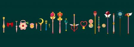 Magical Weapons - hd, staff, items, anime, sweet, plain, item, nice, magical girl, lovely, beauty, wand, rod, beautiful, simple, pretty, green, weapon, objects, object