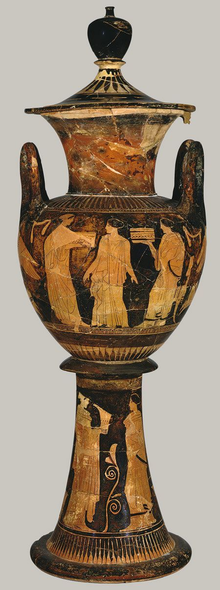 Lebes gamikos (wedding vase), ca. 430–420 B.C.; Classical  Attributed to the Washing Painter  Greek, Attic  Terracotta.