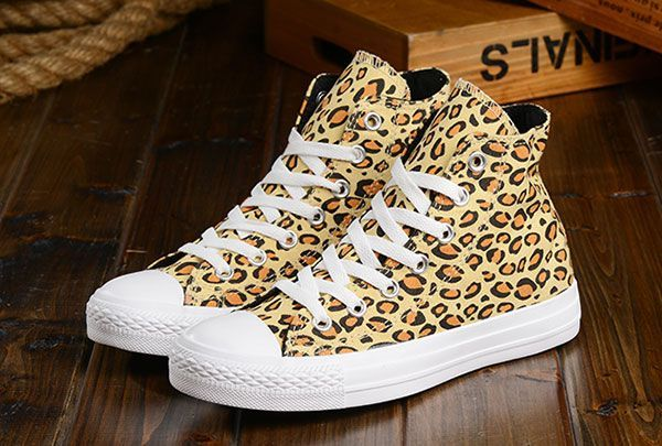 Brown Leopard Converse High Tops Chuck Taylor All Star Women Canvas Shoes #converse #shoes