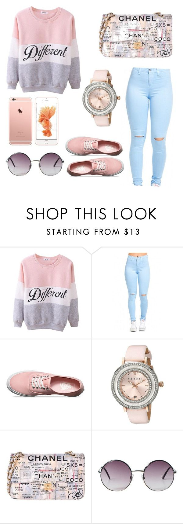"""Chill Outfit."" by uniquehannah00 ❤ liked on Polyvore featuring Vans, Ted Baker, Chanel and Monki"