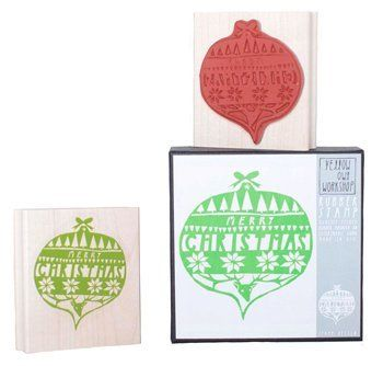 Merry Christmas decoration bauble rubber stamp, with sample image from the stamp.