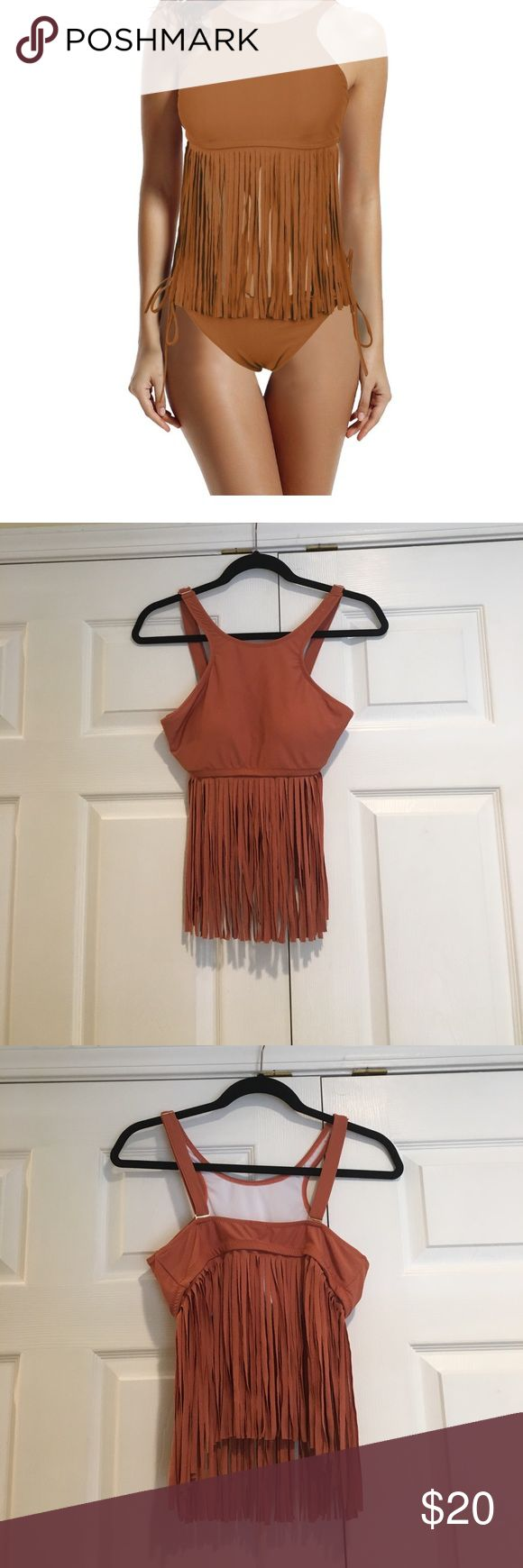 Fringe brown bikini Fringe brown bathing suit. Top was only worn for several hours for Halloween costume. Bottoms are in original packaging and only opened to confirm size. Fringe covers all of belly and top fits like a sports bra. This is brown/tan but does look somewhat orange. Purchased from amazon. Size medium but runs small. Hand wash only. Price firm. No trades. zeraca Swim Bikinis