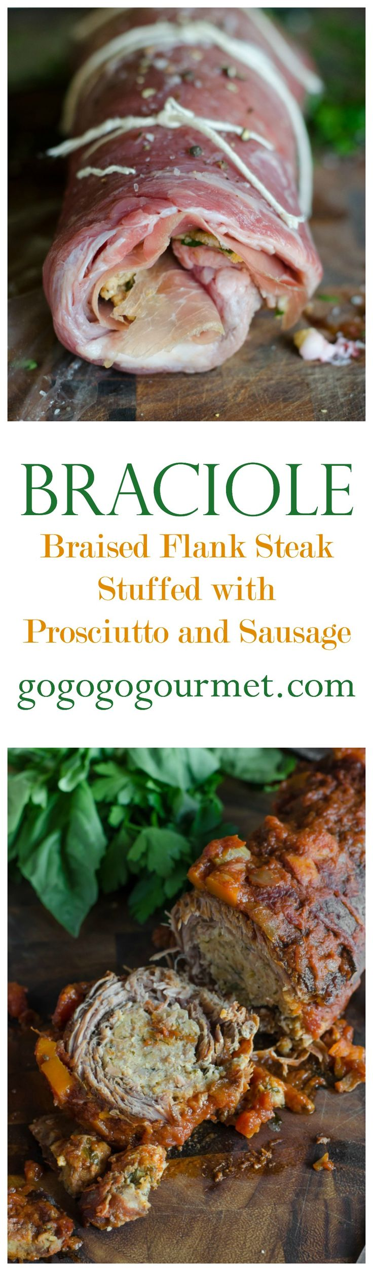 Braciole- Flank steak rolled with prosciutto and a sausage bread crumb stuffing, then braised in a tomato sauce until tender. | Go Go Go Gourmet @gogogogourmet
