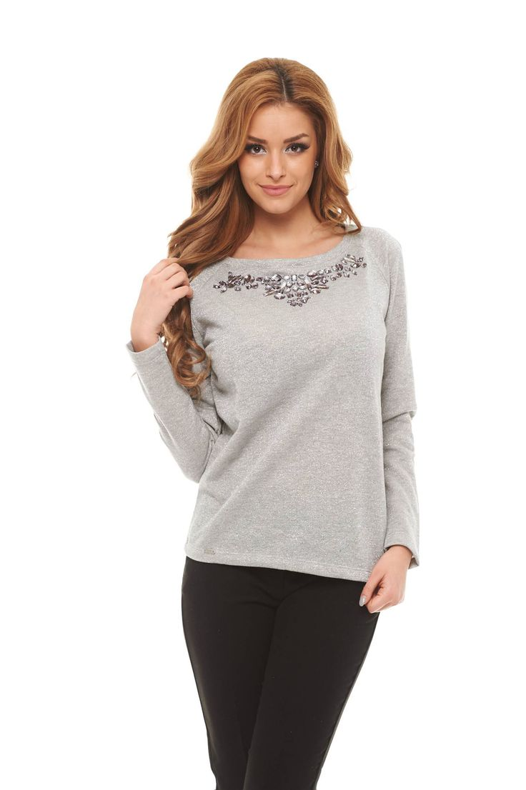 Top Secret Chic Note Grey Sweater