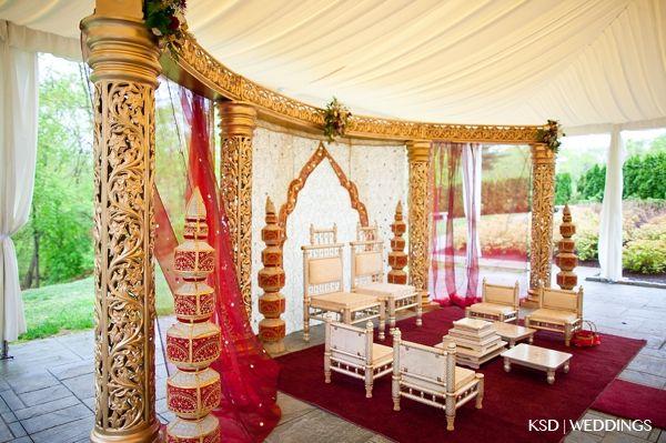 Party Cruisers pvt. Ltd. - Wedding Decoration mandap - half moon, gold