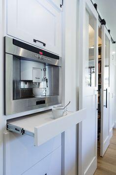 coffee station - built in maker, sliding tray underneath, flip up cabinet for supplies above. :)  transitional kitchen by Von Fitz Design
