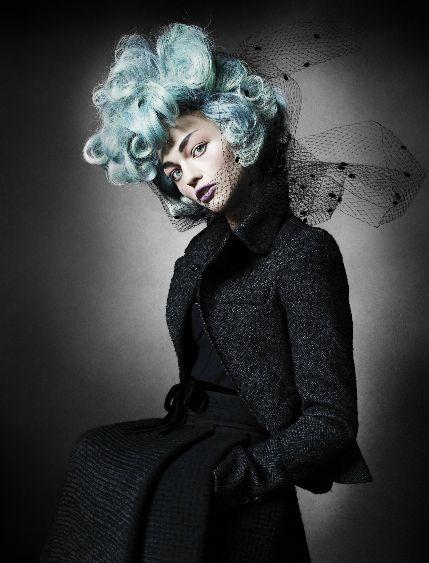 Uptown Downton Elegance. Sasha Pivovarova by Mario Testino.: Mario Testino, Hair Colors, Blue Hair, Hair Makeup, Hunger Games, Sasha Pivovarova, V Magazine, Mariotestino, Capitol Couture