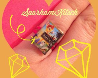 Miniature Bambi DVD adjustable kitsch ring