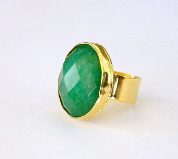 Emerald green ring green gold ring handmade by craftysou on Etsy, $37.00