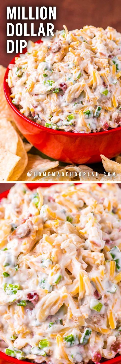 Million Dollar Dip! Also called Neiman Marcus Cheese Dip, this almond, bacon, and cheese recipe started out as a spread and quickly become a crowd-pleasing million dollar dip that's lasted the test of time. It's perfect for making in advance and best served chilled. | HomemadeHooplah.com