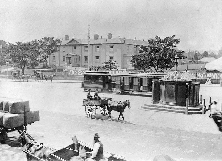 Central Square in Sydney, Australia, before building of railway with Benevolent Hospital in background. v@e.