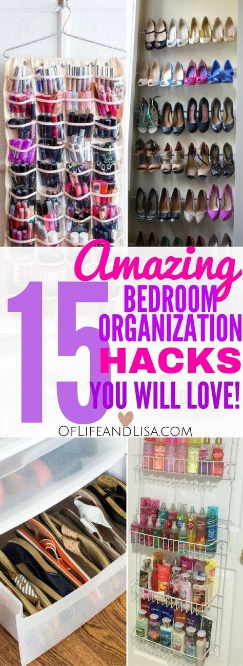 Looking for bedroom organization ideas? You will love these 15 different ways to organize, declutter and create more space in your bedroom.