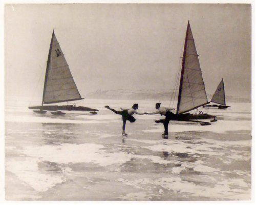 Ice dancers, Lake Balaton, Tihany Füred, 1950