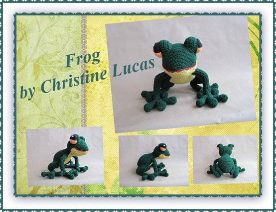 """Frog PDF Crochet Pattern by Christine Lucas - This pattern is available for $3.50 USD. This little guy was created from my own original pattern. His finished dimensions are 9""""L x 8""""H x 4""""W (Width measurement is taken from hip to hip. Measurements do not include any width or length that the legs and toes add.) He was made with worsted weight yarns and since weight 4 yarn is the most popular among vendors, your color options are endless."""