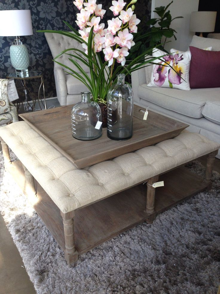 Upholstered Linen Coffee Table And Tray In 2019 Cozy