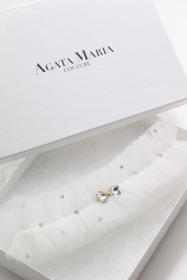 Alexandra -tulle garter with crystal bow and Swarovski crystals Agata Maria Couture