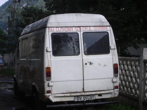 "On the back is written ""Do not honk, the driver sleeps"""