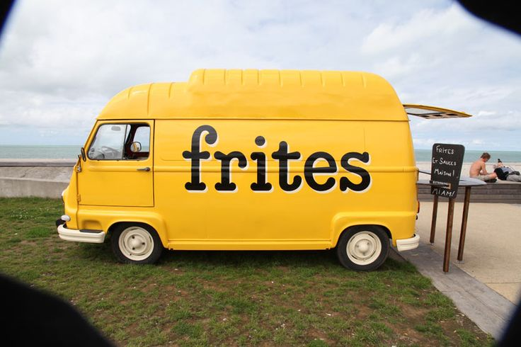 "bright yellow mobile frites food truck - does what is says on the van... a simple ""paint job"" direct uncomplicated message. Inspiring simple successful creativity!"