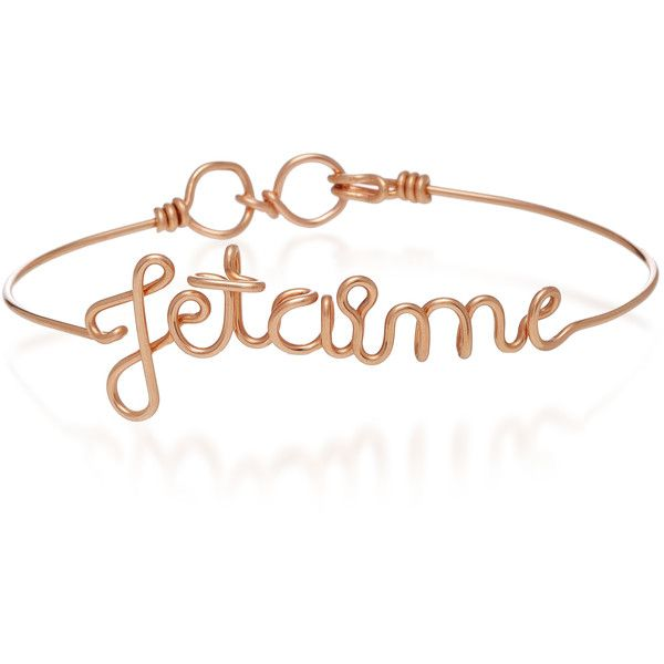 Je T'aime 14K Rose Gold Bracelet | Moda Operandi ($295) ❤ liked on Polyvore featuring jewelry, bracelets, initial bangle, pink gold jewelry, rose gold jewellery, letter jewelry and rose gold bangle