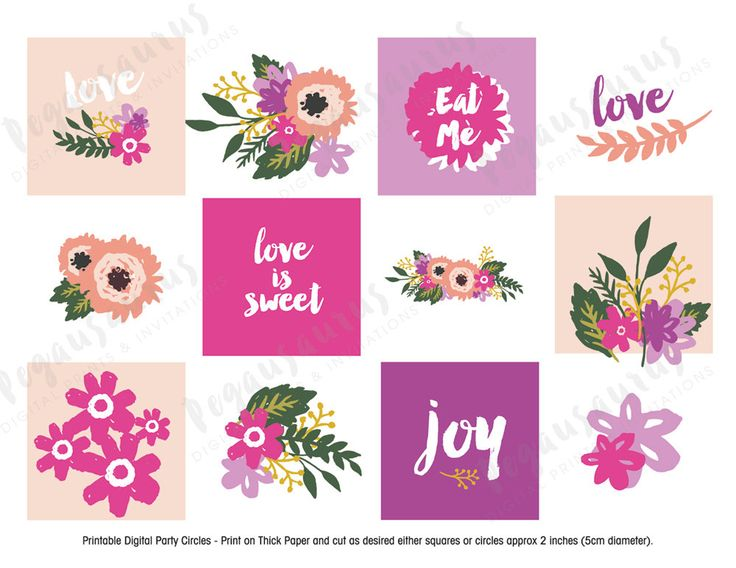Floral Cupcake Toppers. Great for Bridal Shower Kitchen Tea High Tea Cake Toppers. Great for a Summer Wedding. Printable Toppers.