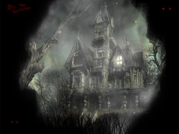 The scary animated desktop background with this haunted house is ...