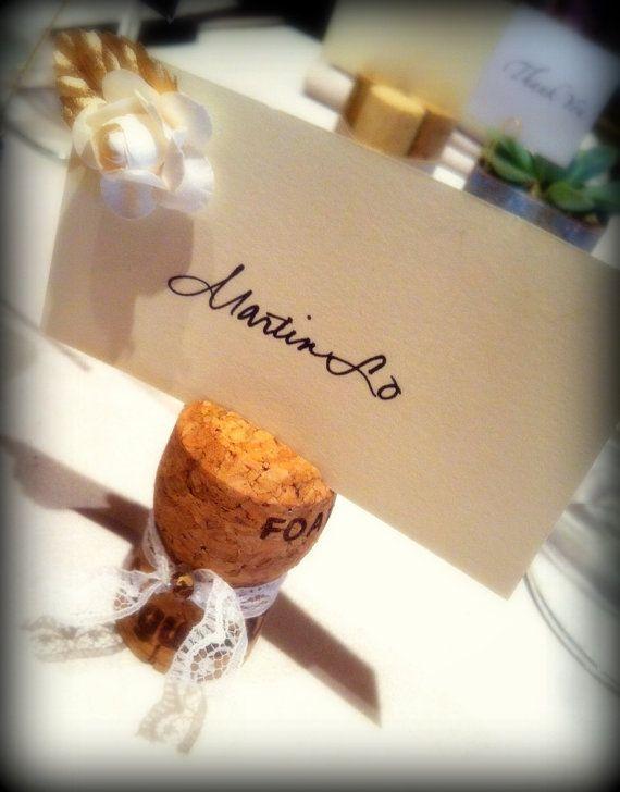 Vacances Place porte-cartes, recyclé des bouchons de Champagne pour les mariages de NYE Bridal Shower, bouchons de champagne recyclés, jeu de 10
