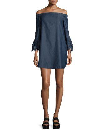 Chambray+Off-the-Shoulder+Mini+Dress,+Dark+Denim+by+Tibi+at+Neiman+Marcus.