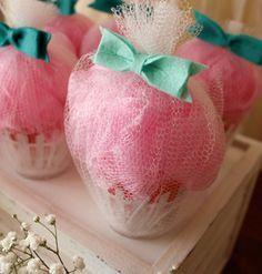 Loofah & Bath Salt Cupcake Favors.  Pin found by Freebies-For-Baby.com