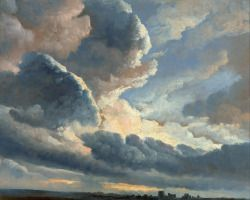 """art-centric: """"Simon Alexandre-Clement Denis - Study of Clouds with a Sunset near Rome """""""