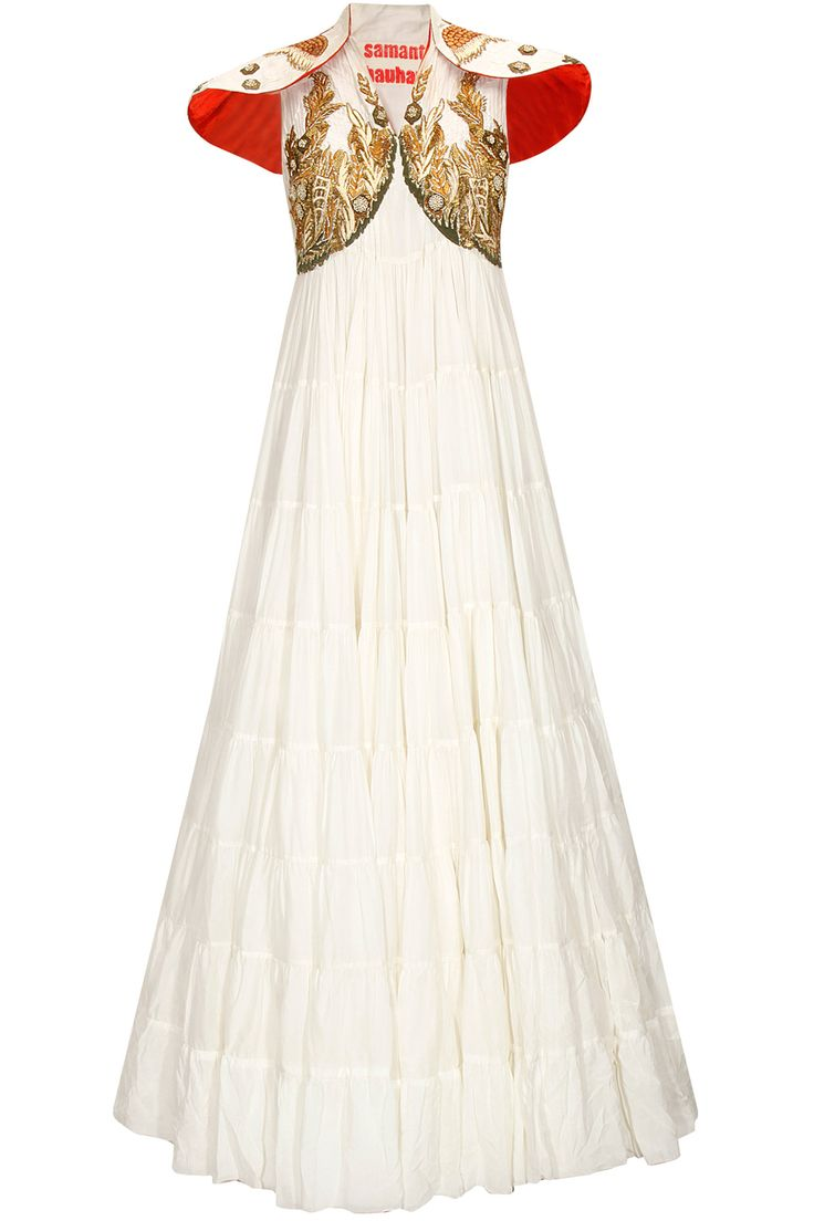 White embroidered heavy layered dress by samant chauhan