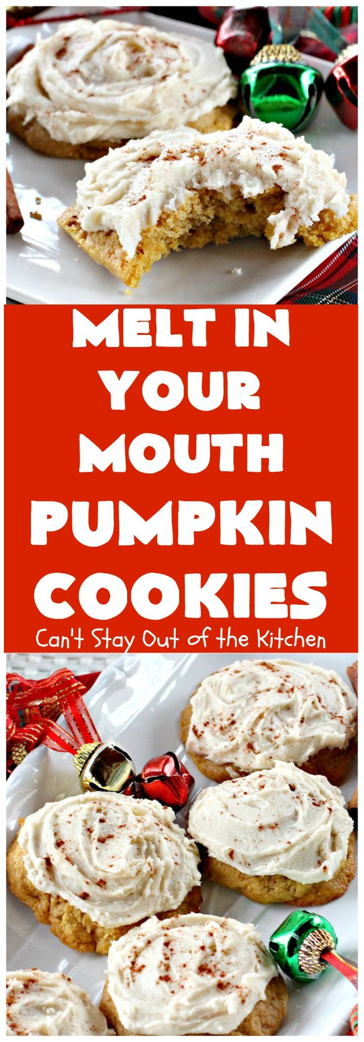 Melt in Your Mouth Pumpkin Cookies | Can't Stay Out of the Kitchen | these are the most awesome #pumpkin #cookies ever! The brown sugar buttercream frosting is amazing. These are terrific for #Christmas baking & parties. #dessert