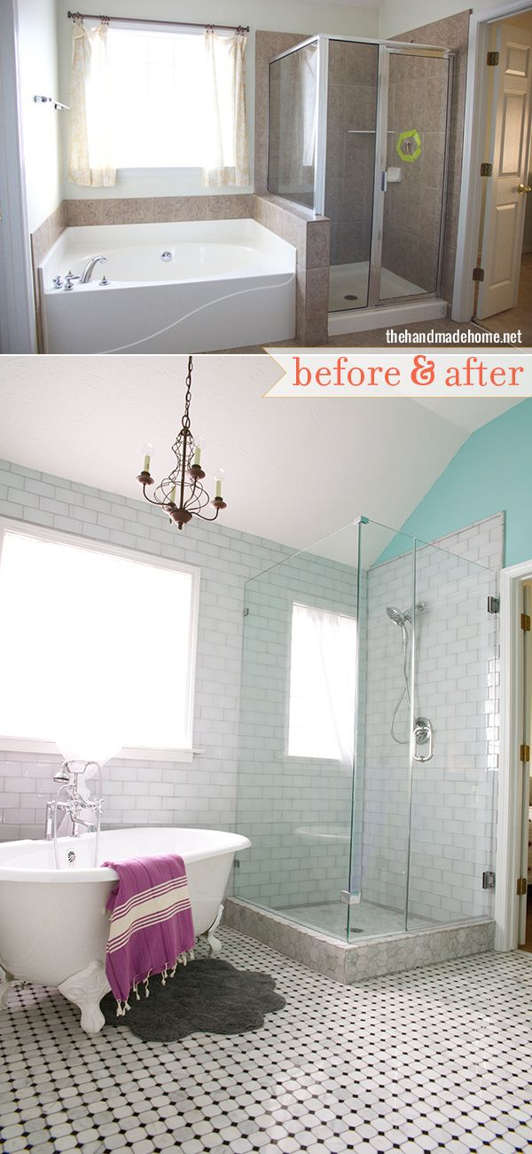 Before & After: A Master Bath's Unexpected Makeover. Don't love the floor tile. Porcelain wood look tile?
