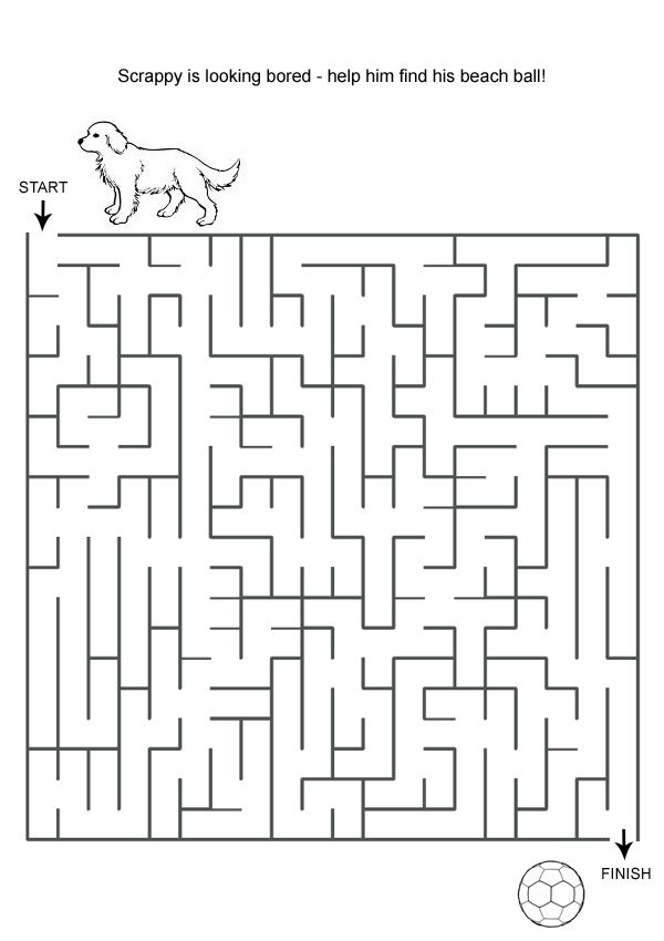 Free Online Printable Kids Games - Dog And Ball Maze