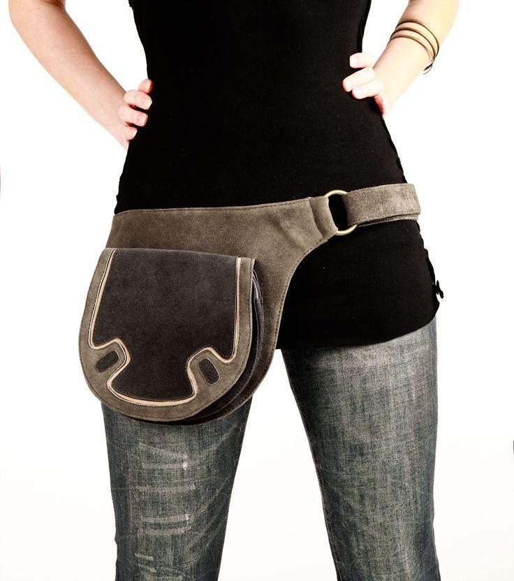 Grey leather bag hip belt belt bag utility belt by Shovavaleather, $119.00- Hey Hey!! I'd wear it ;)