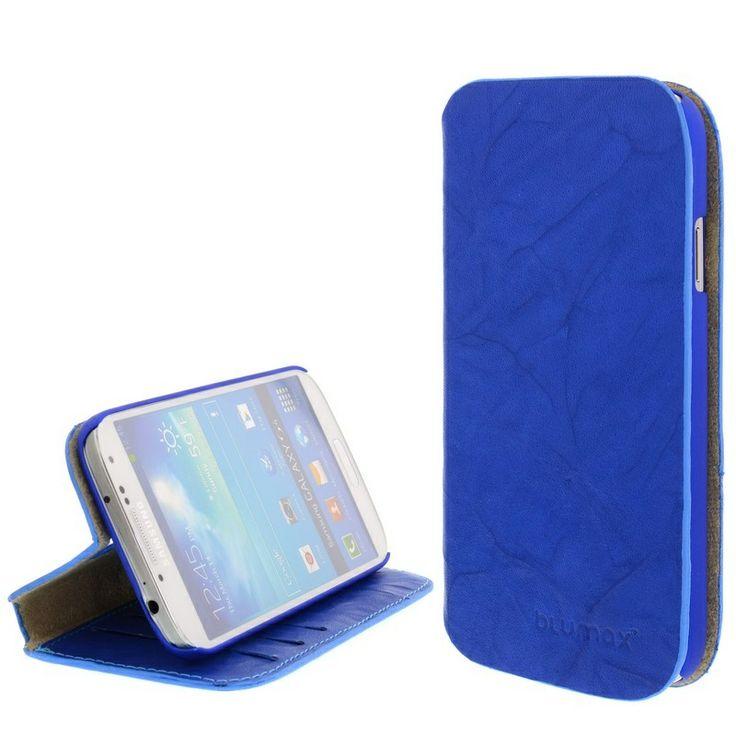 Blumax Plånbok Läderfodral - Samsung Galaxy S4 I9500, I9505, I9502 - Tvättad Blå Sax
