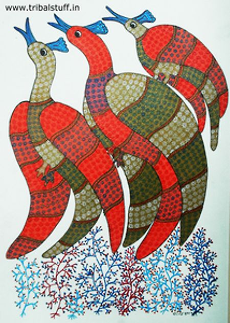 Birds of Same Feather, Gond Tribal Art, India
